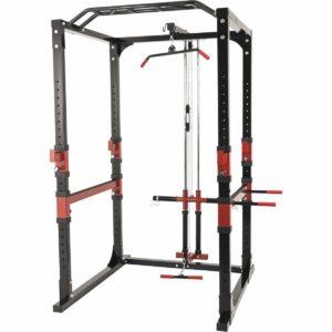Cage à Squat Gorilla Sports avec poulie, barre de traction et barre de dips