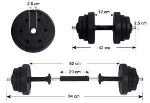 Kit haltères musculation avec poids ajustables 30 kg