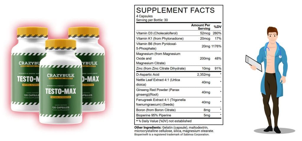 ingrédients testo-max crazy bulk
